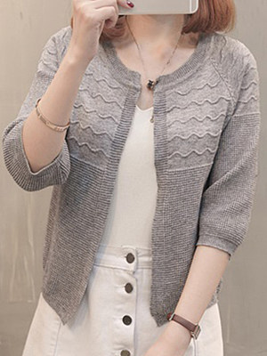 Cute Plain Knit Cardigan, 10573075