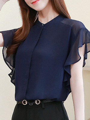 Band Collar Plain Short Sleeve Blouse, 11355362
