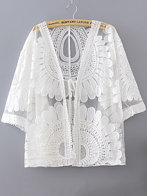 Embroidery Short Sleeve Cardigan