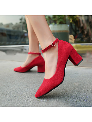 Sexy chunky heeled pointed high heels buckle single shoes, 11265163