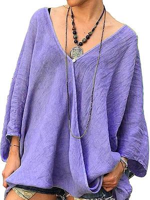 V Neck Plain Loose Fitting Long Sleeve Linen Blouse, 24617349