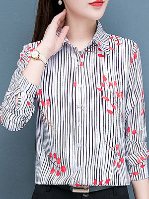 Turn Down Collar Printed Long Sleeve Blouse, 10489165