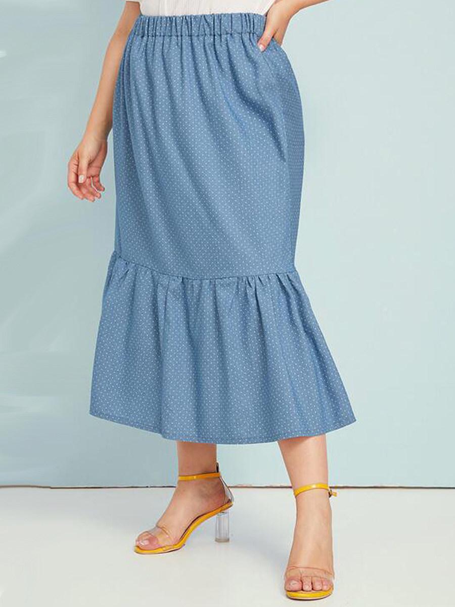 Oversized polka-dot denim pleated skirt