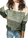 Image of High Collar Color Block Long Sleeve Knit Pullover