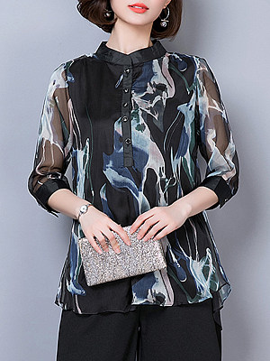 Band Collar Printed Three-Quarter Sleeve Blouse, 11297294