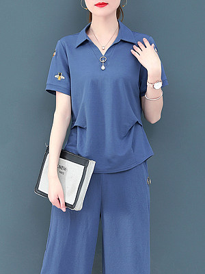 Turn Down Collar Short Sleeve T-shirt And Bottom Suit, 11294726