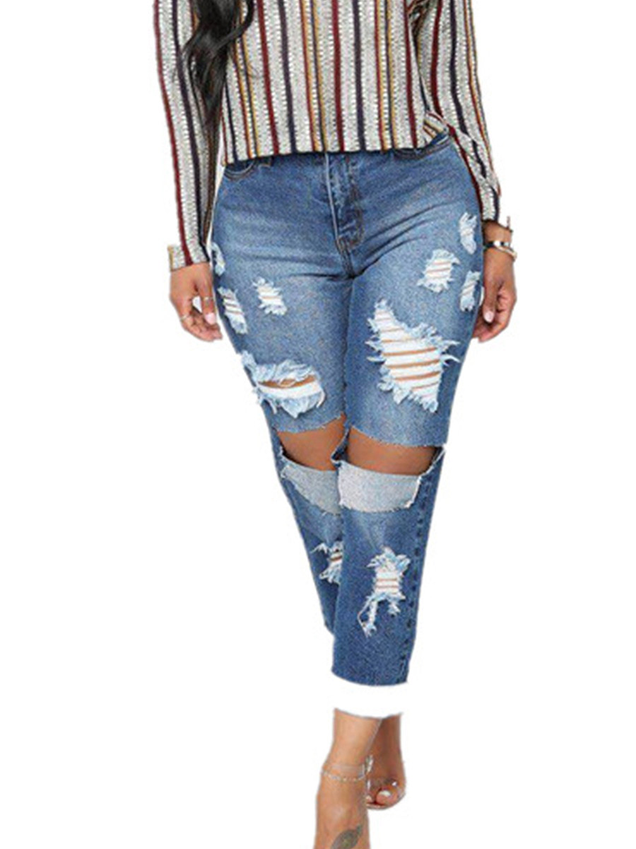 BerryLook Personalized stretch high waist ripped slim jeans