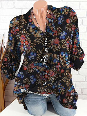 V Neck Loose Fitting Floral Printed Long Sleeve Blouse, 24772101