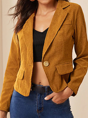 Women's Fashion Corduroy Long Sleeve Blazer gender:female, colour:other, season:autumn,spring, texture:polyester, sleeve_length:long sleeve, style:japan and south korea, collar_type:fold collar, dress_occasion:daily, bust:104,clothing length:56,shoulder width:41,