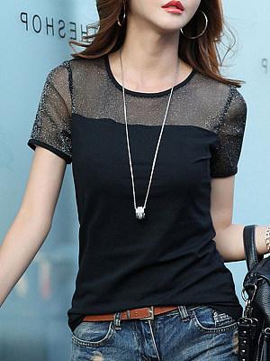 Round Neck Patchwork Short Sleeve T-shirt, 11588469