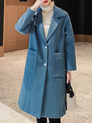Temperament Fold Collar Long Coat, 11351356