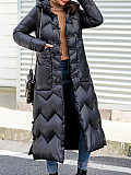 Image of National style disc buckle down padded coat, large size mid-length coat