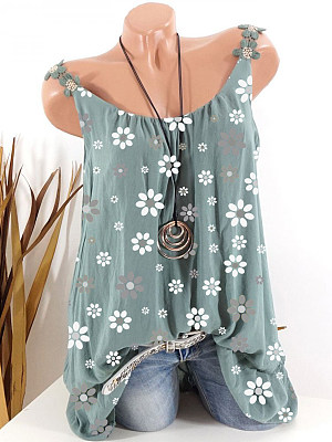 Womens Round Neck Printed Sleeveless T-Shirt gender:woman, colour:green, season:summer, collar:crew neck, texture:polyester, pattern_type:printing, sleeve_length:sleeveless, style:leisure, collar_type:crew neck, dress_occasion:daily, bust:120,clothing length:73,