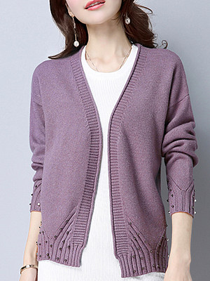 Solid color short coat with beads knitted cardigan loose and versatile sweater фото