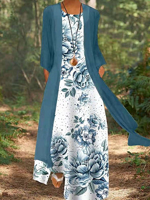 Berrylook Loose Printed Sleeveless Two-Piece Dress shoping, sale, Printing Maxi Dresses, long sleeve dress, floral maxi dress