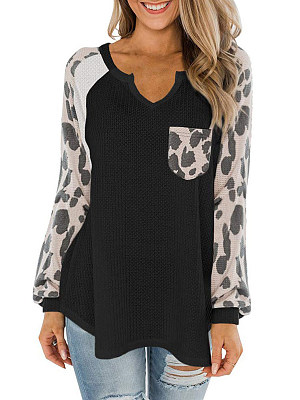 Buy Long sleeve T-shirts shoppers stop, online shop from Berrylook Apparel & Accessories>Clothing>Shirts & Tops>T-Shirts, Berrylook V Neck Leopard Print Patchwork Long Sleeve T-shirt is well made of Polyester and it\\\'s features are: bust:94,length:62,sleeve length:69 (in inches). Find best Long sleeve T-shirts at Berrylook.com