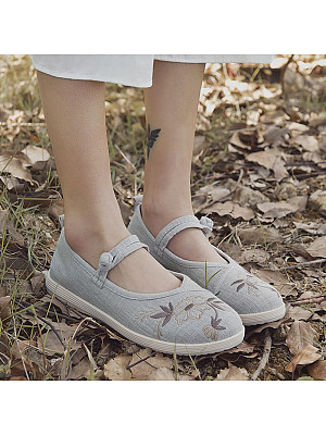 Embroidered shoes retro ethnic style cloth shoes