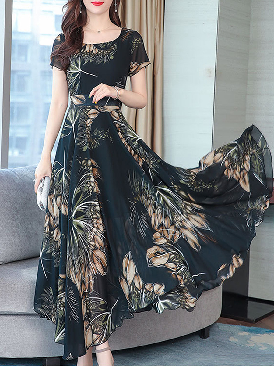 BerryLook Vintage Floral Crewneck Maxi Dress