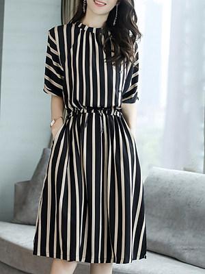 Striped short sleeve a-line skirt