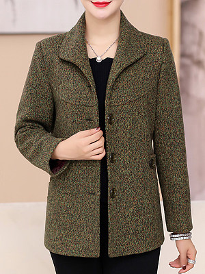 Women's Casual Lapel Short Woolen Coat gender:female, season:autumn,winter,spring, texture:cotton blend, sleeve_length:long sleeve, sleeve_type:regular sleeve, style:japan and south korea, collar_type:fold collar, design:single-breasted, dress_occasion:daily, bust:118,clothing length:70,shoulder width:43,