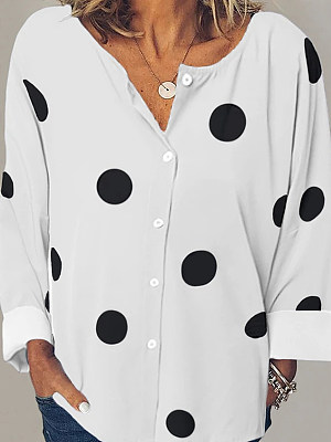 V Neck Dot Long Sleeve Blouse, 24525981