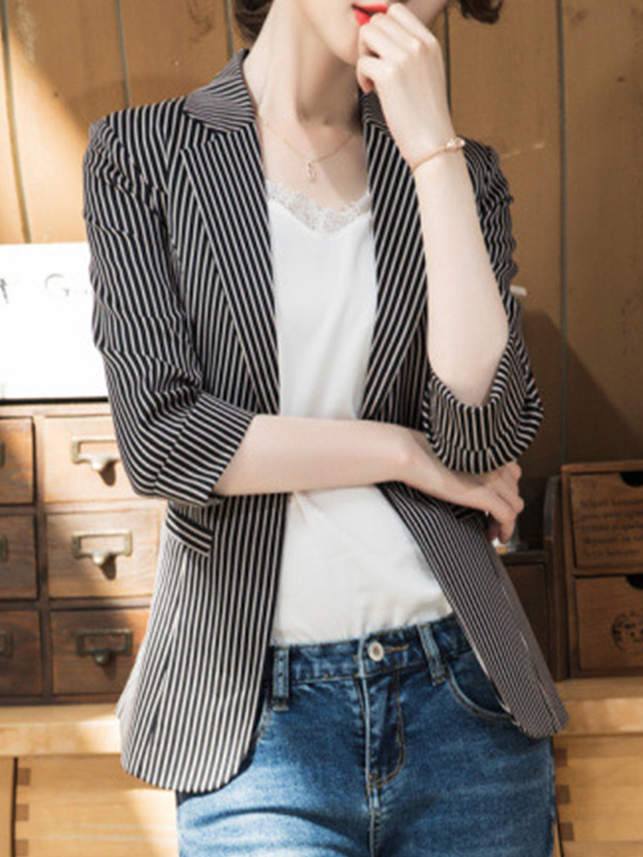 Temperament Slim-Fold Collar Blazer