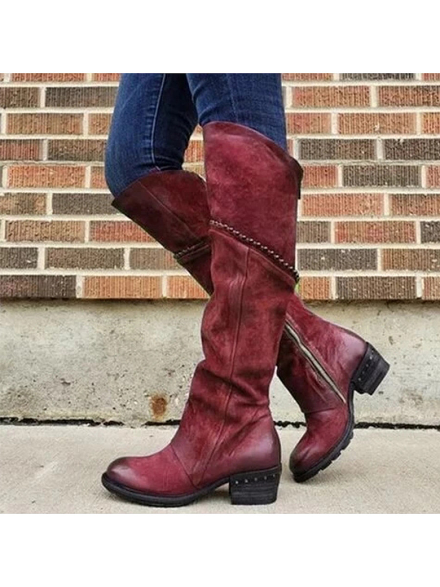 Leather boots side zipper Martin boots warm low heel women's shoes - from $33.95