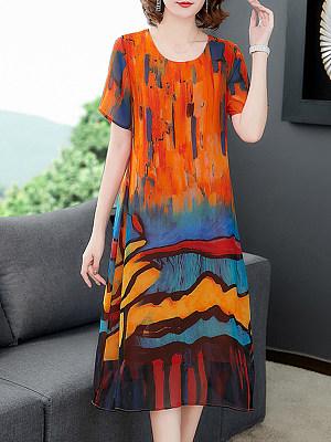 Women's Printed Thin Shift Dress gender:woman, season:summer,spring, skirt_length:mid skirt, sleeve_length:short sleeve, style:japanese and korean style, bust:106,clothing length:108,shoulder width:39,
