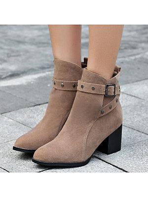 Fashion Women Rivrt Thick Heel Belt Buckle Boots, 10831160