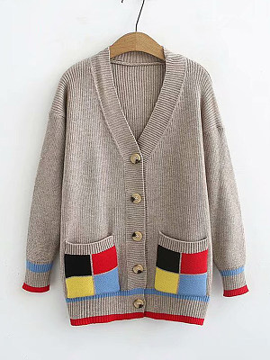 V Neck Patchwork Long Sleeve Knit Cardigan