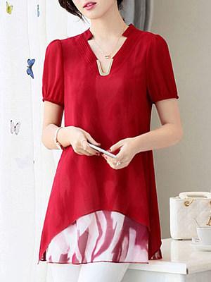 V Neck Patchwork Short Sleeve Blouse, 11330501