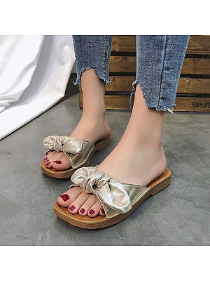 Fashion Frosted Bow Soft Sandals