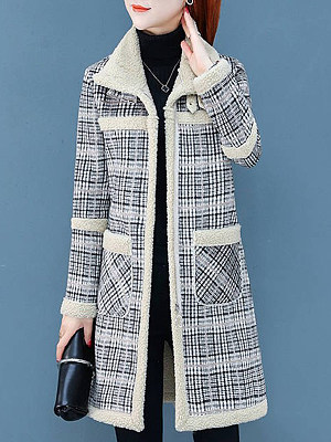 Women's Fashion Check Lamb Fur Coat gender:female, season:autumn,winter,spring, texture:polyester, pattern_type:grid pattern, sleeve_length:long sleeve, sleeve_type:regular sleeve, style:japan and south korea, collar_type:fold collar, dress_occasion:daily, bust:114,clothing length:86,shoulder width:44,
