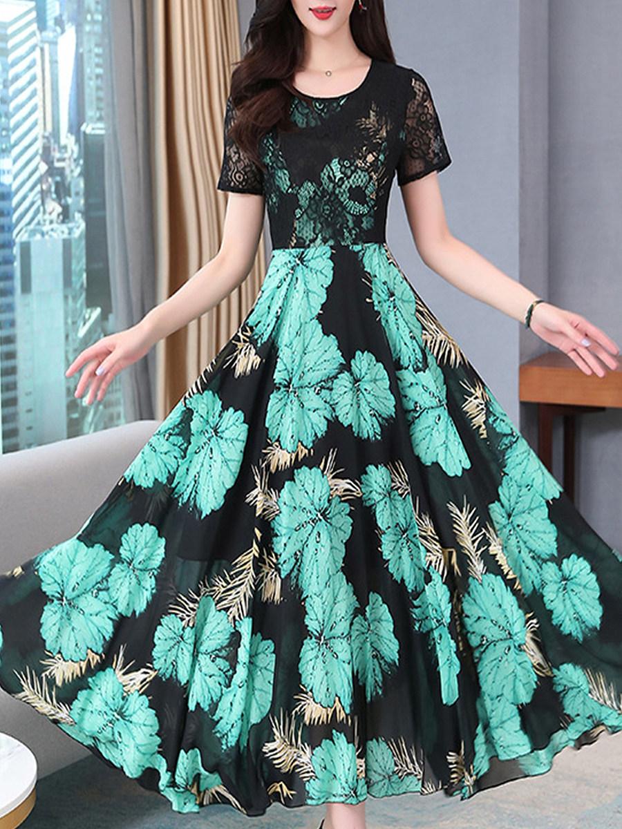 BerryLook Vintage Floral Chiffon Printed Lace Maxi Dress