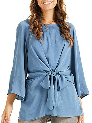 Round Neck Belted Sleeve Blouse, 11259382