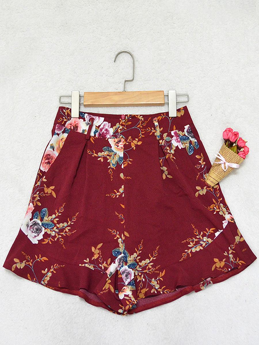 BerryLook Summer burst fashion high waist multicolor printed shorts