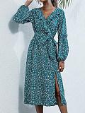 Image of High Waist Long Sleeve Printed Dress