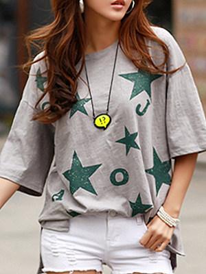 Round Neck Star Printed Half Sleeve T-shirt
