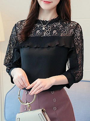 Round Neck Patch Lace Short Sleeve Blouse, 11561895