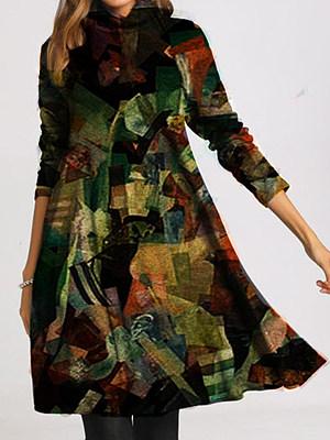 Printed Round Neck Long Sleeve Dress, 25361224