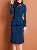 Image of Half High Collar Lace Patchwork Fake-two-piece Long Sleeve Knit Dress