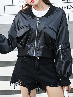 Lady embroidered zipper leather jacket