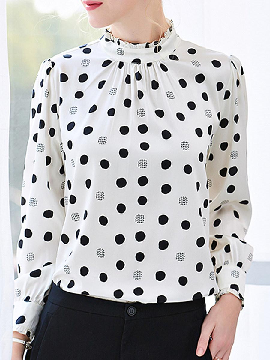 Band Collar Elegant Polka Dot Long Sleeve Blouse - from $18.95