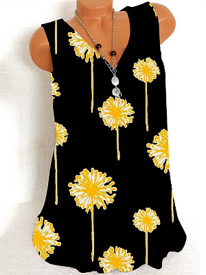 V Neck Printed Sleeveless T-shirt фото