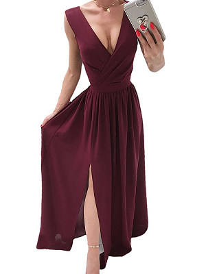 Berrylook Summer Solid Color V-neck Sleeveless Dress clothes shopping near me, online, long sleeve maxi dress, floral dresses