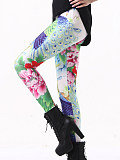Image of Fashion peacock print casual sports leggings