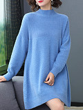 Image of Half High Collar Plain Loose Fitting Long Sleeve Knit Dress