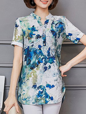 V Neck Printed Short Sleeve Blouse, 11576793
