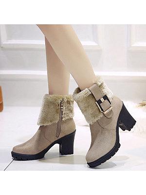 Women's fashion solid color plus velvet ankle boots, 9879613