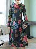 Image of High Neck Printed Long Sleeve Round Neck Dress